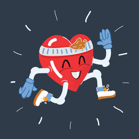 Vector illustration of Heart character running to keep healthy on dark background.