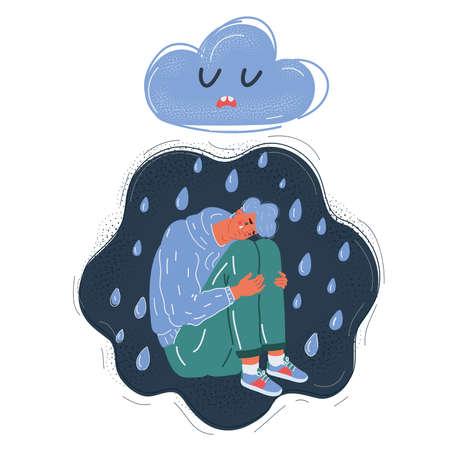 Vector illustration of Image of sad man sitting under thundercloud on dark background.