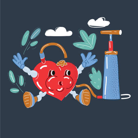Vector illustration of and heart with pumper feel pressure on dark backround.