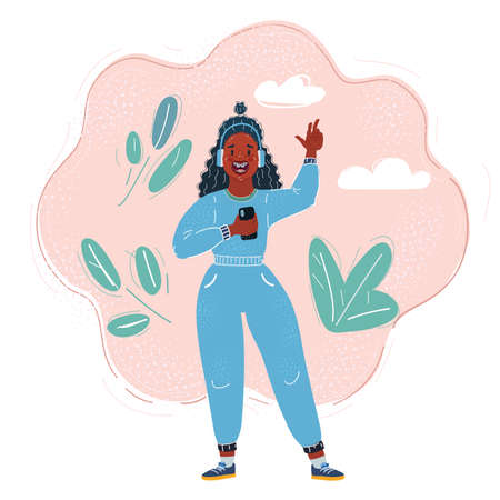 Vector illustration of Afro teen girl listening to music with headphones.