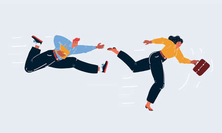 Vector illustration of man and woman running taking business competition on white backround. Stock Illustratie