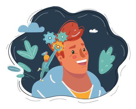 Vector illustration of woman working with gear in mans brain on dark backround. Ilustración de vector