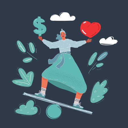 Vector illustration of woman balanced with money and heart on dark backround.