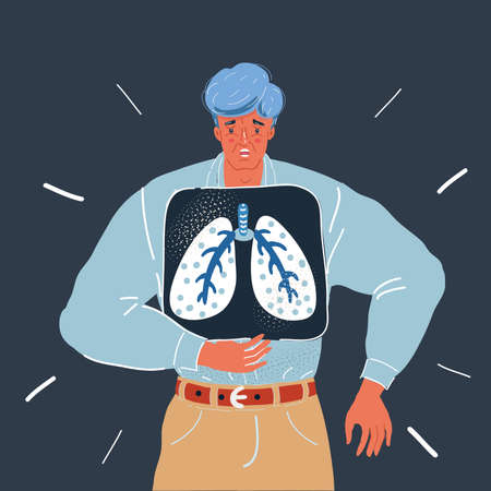 Vector illustration of shot of man holding x-ray of lungs over chest on dark backround.