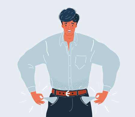 Vector illustration of The man with empty pockets on white backround.