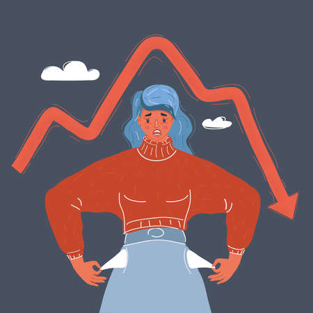 Vector illustration of Poor woman turns her pockets. Without money and work. Economic crisis concept on dark background.