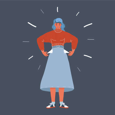 Vector illustration of Bancrupt business woman. Human characer on dark background.
