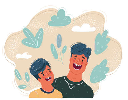 Vector illustration of Father told a funny story to his son. Close-up laughing faces on dark background.