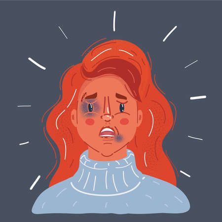 Vector illustration of crying Woman with Tears and Bruises and abrasions on a womans face. The problem of domestic violence concept. Close-up face on dark background.