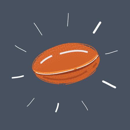 Vector illustration of Fish oil pill on dark background 矢量图像