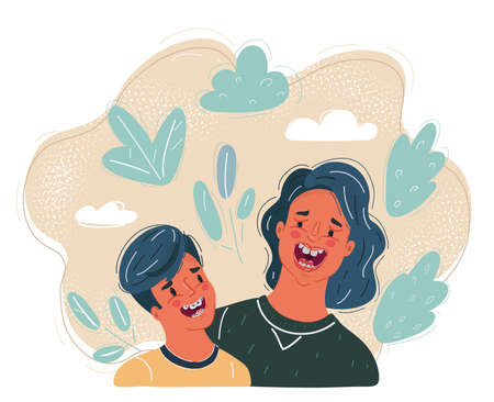 Vector illustration of mother told joke to her son.