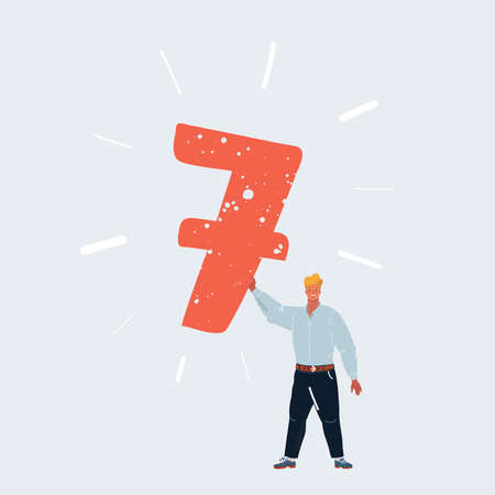 Vector illustration of man holding number 7 seven sign in his hands on white background. 矢量图像