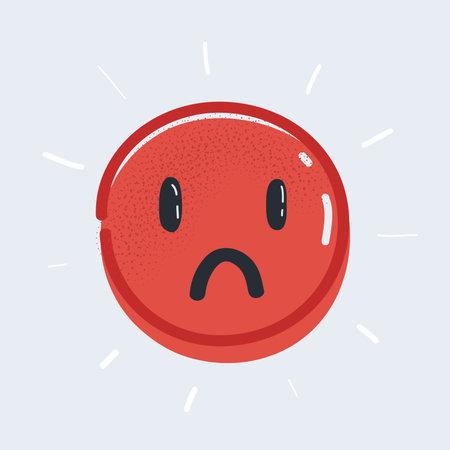 Vector illustration of Sad emoticon sign on white background. 矢量图像