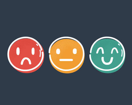 Vector illustration of three buttons with happy, neutral and sad emotion faces on dark backgound.