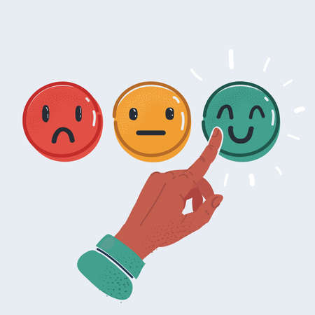 Vector illustration of smile emoticons isolated on white background. Happy, indifferent and unhappy smileys. Emoji set. Green, yellow and red color on white background.