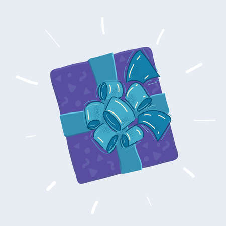 Vector illustration of gift box icon. Gift wrapping. Gift package. Top view.