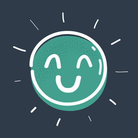 Vector illustration of happy and satisfied Emoticon on dark background.