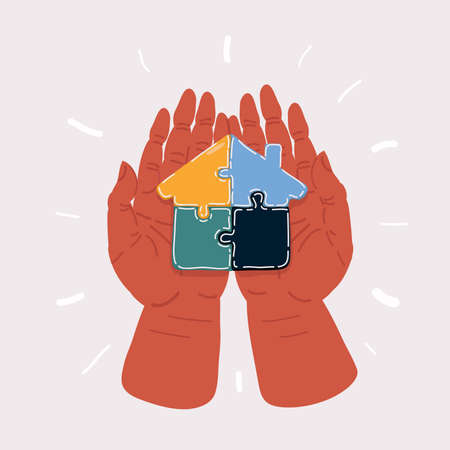 Vector illustration of Illustration of human hand hold assembling jigsaw house shape puzzle on dark background.