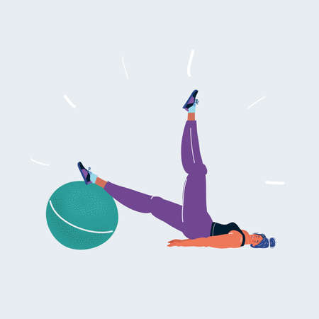 Vector illustration of a girl exercising with inflatable ball on white background. 矢量图像