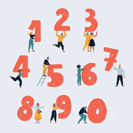 Vector illustration of little people with numbers. Tiny people with one, two, thee, four, five, six, seven, eight, nine, zero on white background.