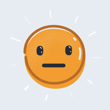 Vector illustration of neutral, indifferent emotion face on white background.