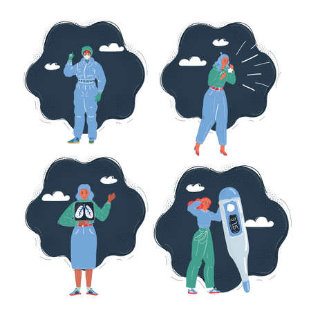 Vector illustration of woman with Disease Illness Sickness Symptom Syndrome on dark. Doctor in protection wear, character with thermometer, x-ray of lung, cough 矢量图像