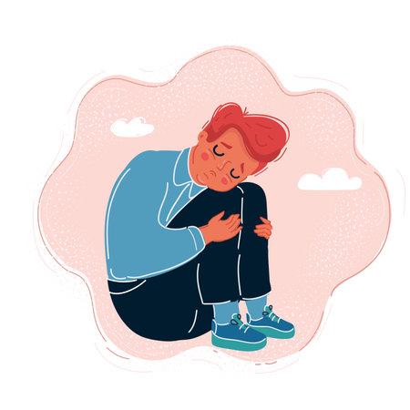 Vector illustration of comic sad little boy