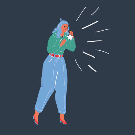 Vector illustration of woman cough on dark background.