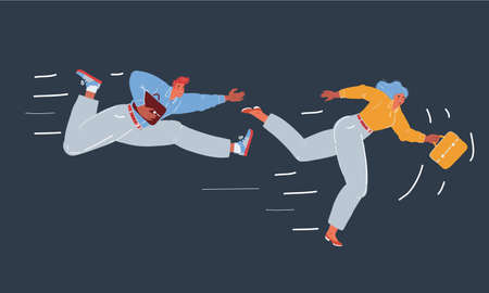 Vector illustration of man and woman people running in business competition on dark background. 矢量图像