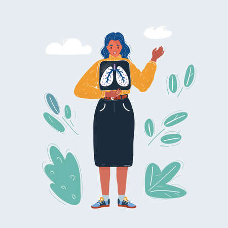 Vector illustration of woman with x-ray shot of lung. 矢量图像