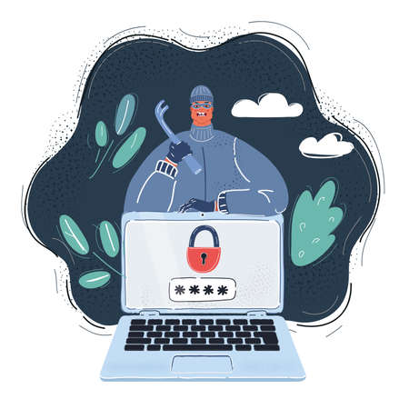 Vector illustration of Thief. Hacker stealing sensitive data as passwords. Hacking internet social network on dark background.