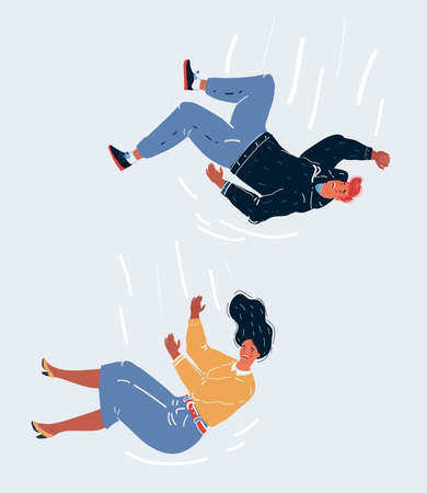 Vector illustration of man and woman Falling Over, Business Risk, mistake Concepts on white concept.