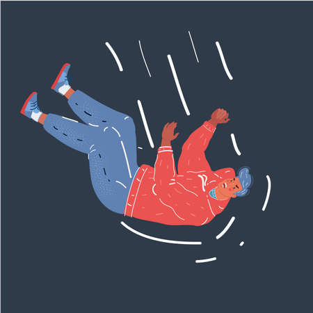 Vector illustration of falling businessman on dark background.