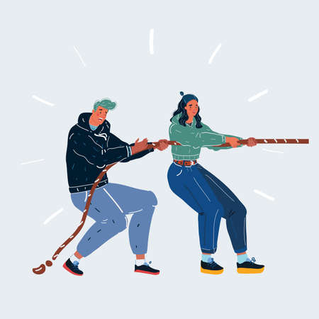Vector illustration of tug-of-war one side. Man and woman play in one team on white background.