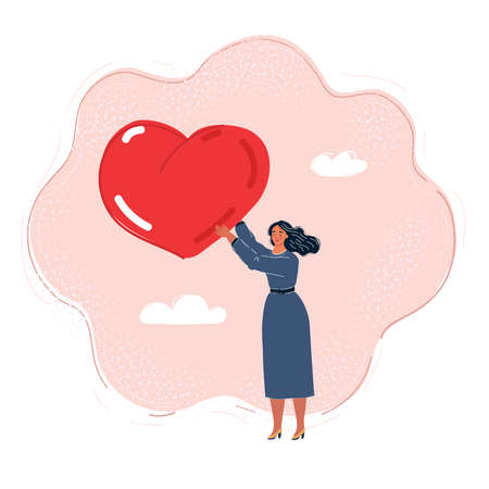 Vector illustration of woman with a big heart in her hands.