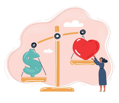Vector illustration of love vs money on big scale. Choice of love or money of woman.