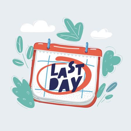 Vector illustration of Last day mark on calendar