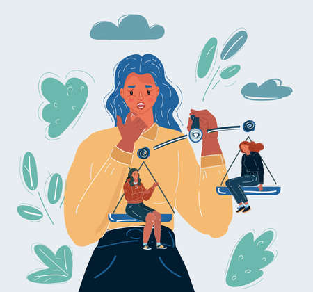 Vector illustration of woman make choice between two woman sitting at scale.