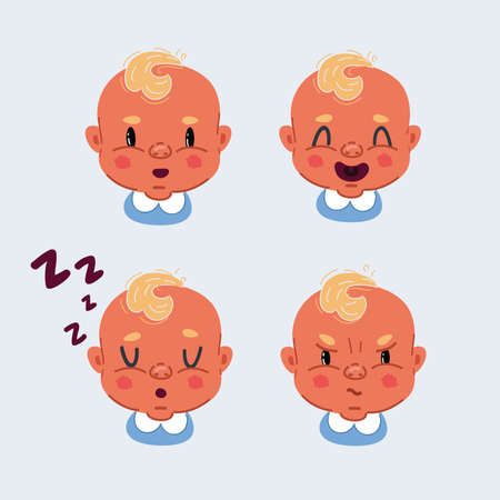 Vector illustration of the facial expression of face of a little boy. Sleeping, angry, laughing, wondering baby,