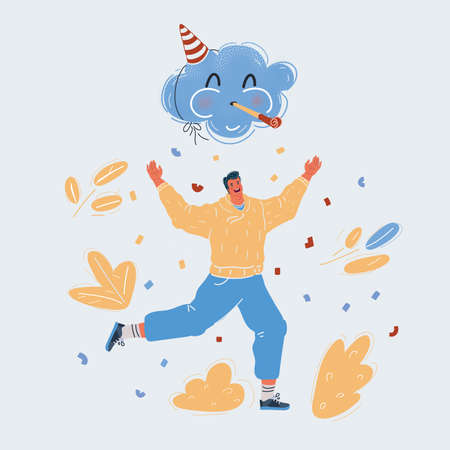 Vector illustration of Party and celebration. Happy man run under magic party clouds who blow horns.