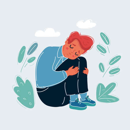 Vector illustration of sad boy child does not want to listen to anyone and constantly cries. He feels bad, lonely, sad, offended