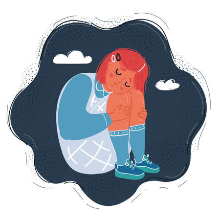 Vector illustration of sad girl child does not want to listen to anyone and constantly cries. He feels bad, lonely, sad, offended