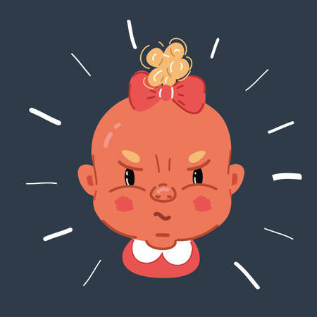 Vector illustration of Angry angry naughty little baby girl face on dark background. Иллюстрация