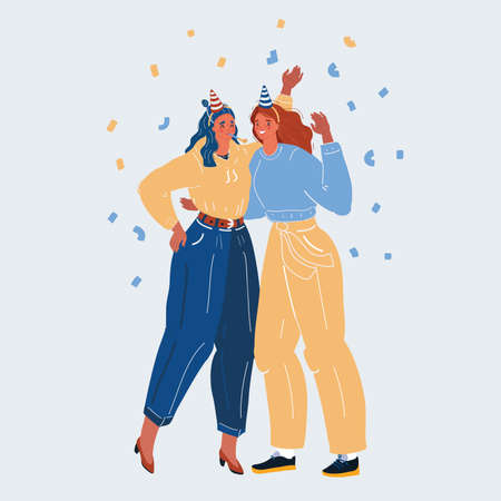 Vector illustration of celebration people. Happy women get together to party on white background.