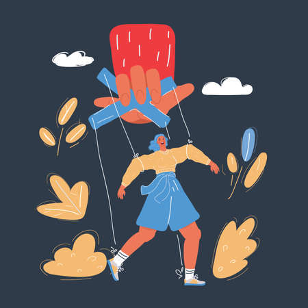 Vector illustration of puppet control by big hand. Woman in dependency concept on dark background. Vector Illustratie