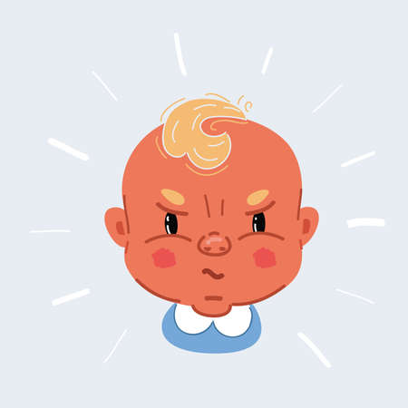 Vector illustration of Angry unhappy naughty little child character screaming and crying on white backround