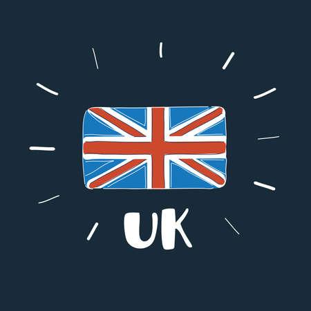Vector illustration of British Flag UK on dark backround.