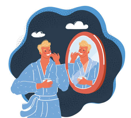 Vector illustration of man take care about him skin before mirror on dark backround.