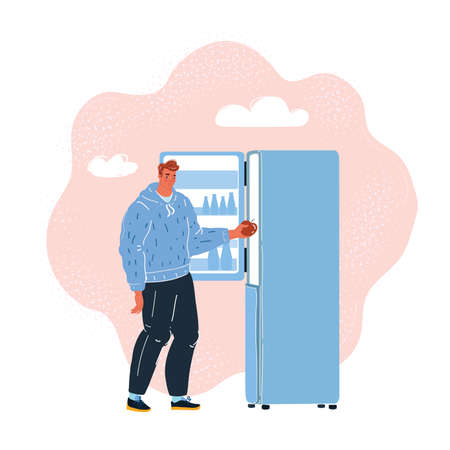 Vector illustration of The first day of a fruit diet. Man use refrigerator on dark Vettoriali