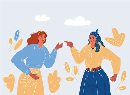Vector illustration of man and woman arguing and discussing together on.